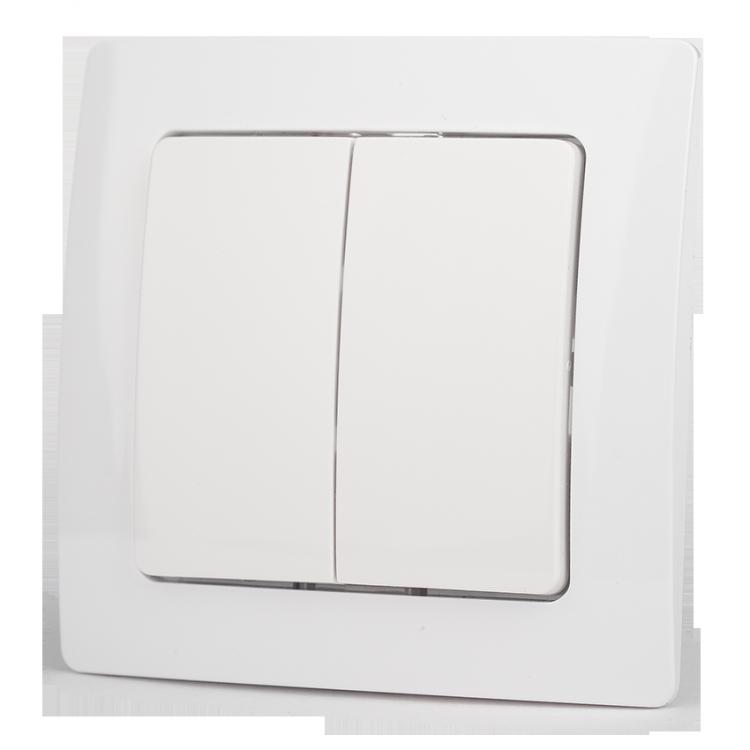 Настенный двухклавишный выключатель на батарейках Z-Wave.Me Wall Controller (белый Paris)