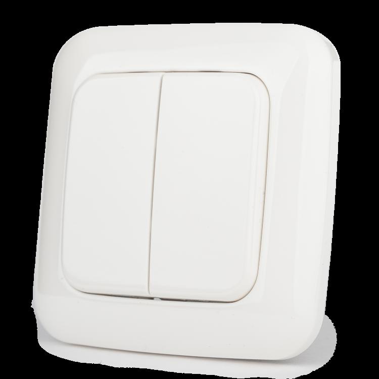 Настенный двухклавишный выключатель на батарейках Z-Wave.Me Wall Controller (белый)